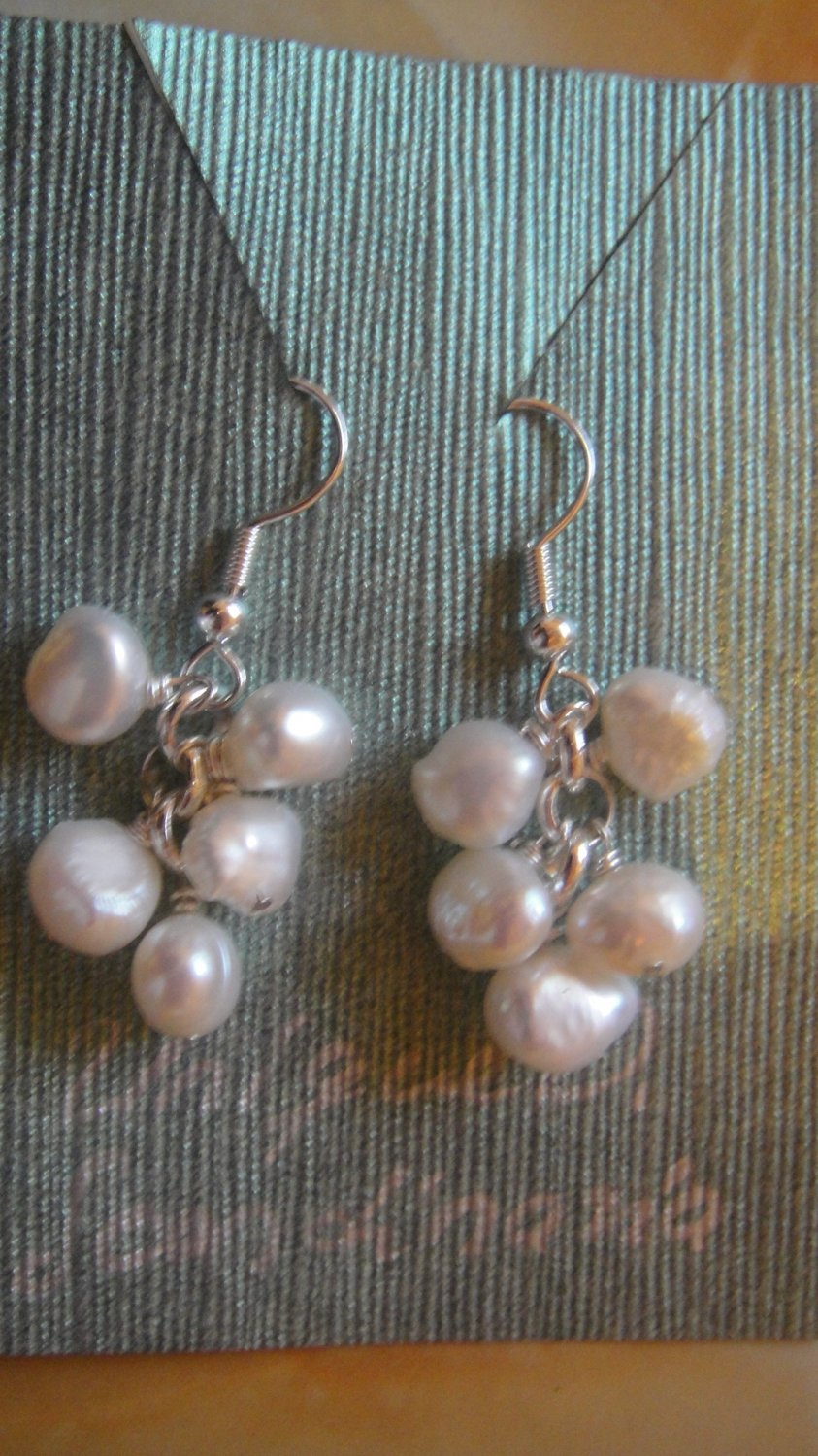 earrings, white fresh water pearls