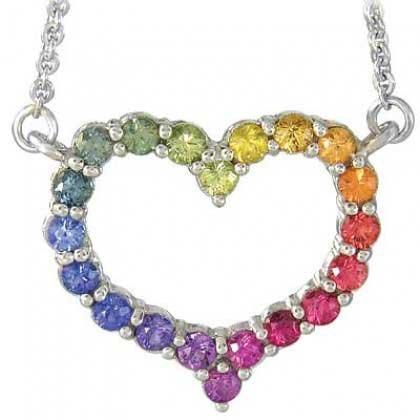 Rainbow Sapphire Necklace Heart Design 18K White Gold (2ct tw) SKU: 1541-18K-WG