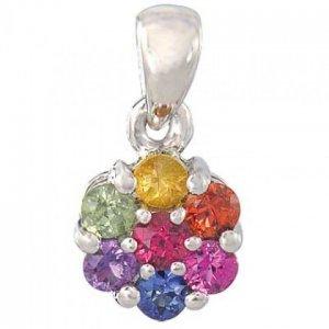 Rainbow Sapphire Flower Cluster Pendant 925 Sterling Silver (1ct tw) SKU: 1616-925
