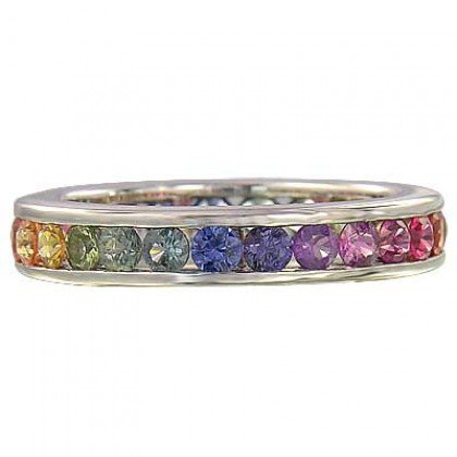 4ct Multicolor Rainbow Sapphire Eternity Ring 925 Sterling Silver with Rhodium Platting