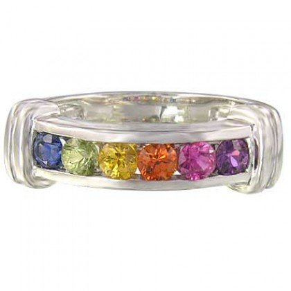 Rainbow Sapphire Band Ring 925 Sterling Silver (1ct tw) SKU: 312-925