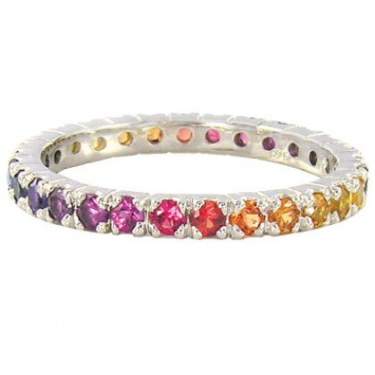 Rainbow Sapphire Pave Set Eternity Ring 925 Sterling Silver (3ct tw) SKU: 1512-925