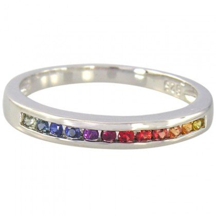 Rainbow Sapphire Band Ring 925 Sterling Silver (1/3ct tw) SKU: 890-925