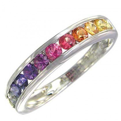 Rainbow Sapphire Band Ring 925 Sterling Silver (2ct tw) SKU: 663-925