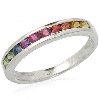Rainbow Sapphire Half Eternity Band Ring 925 Sterling Silver (3/4ct tw) SKU: 891-925