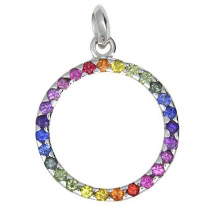 Rainbow Sapphire Circle Pendant 925 Sterling Silver (1.2ct tw) SKU: 335-925