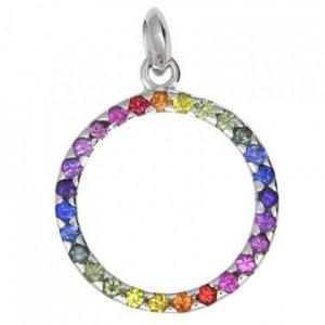 Rainbow Sapphire Circle Pendant 925 Sterling Silver (1.2ct tw) SKU: 335-925