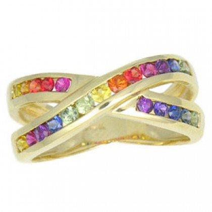 Rainbow Sapphire Crossover Ring 14K Yellow Gold (1.2ct tw) SKU: 470-14K-YG