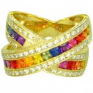Rainbow Sapphire & Diamond Large Crossover Ring 14K Yellow Gold (3.5ct tw) SKU: 628-14K-YG