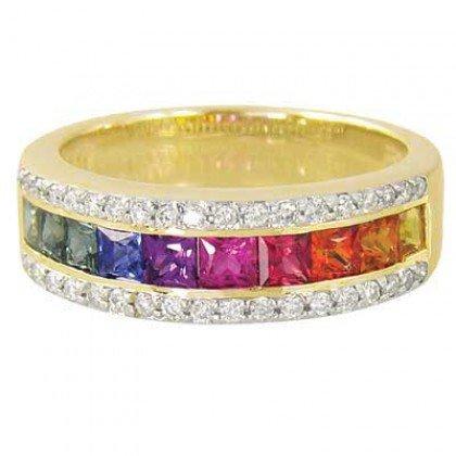 Rainbow Sapphire & Diamond Channel Set Ring 14K Yellow Gold (2.3ct tw) SKU: 1533-14K-YG