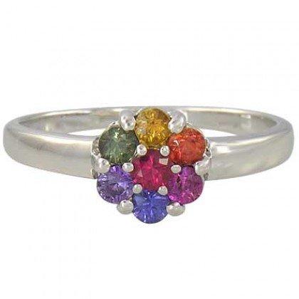 Rainbow Sapphire Flower Cluster Ring 14K White Gold (1ct tw) SKU: 1582-14K-WG