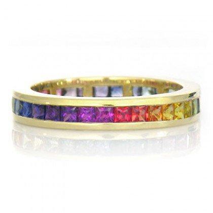 Rainbow Sapphire Eternity Ring 18K Yellow Gold (3ct tw) SKU: R2045-18K-YG