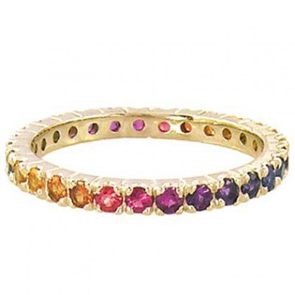Rainbow Sapphire Pave Set Eternity Ring 14K Yellow Gold (3ct tw) SKU: 1512-14K-YG