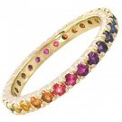 Rainbow Sapphire Pave Set Eternity Ring 18K Yellow Gold (3ct tw) SKU: 1512-18K-YG