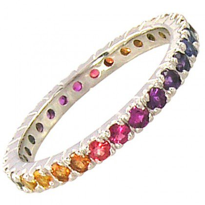Rainbow Sapphire Pave Set Eternity Ring 18K White Gold (3ct tw) SKU: 1512-18K-WG