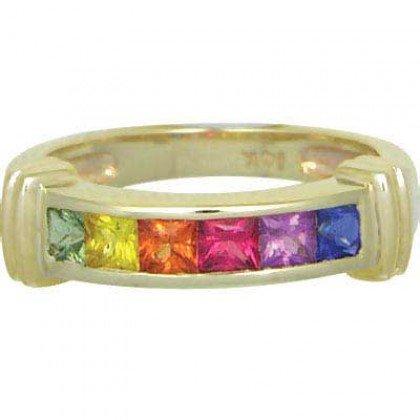 Rainbow Sapphire Band Ring 14K Yellow Gold (1ct tw) SKU: 312-14K-YG