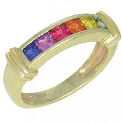Rainbow Sapphire Band Ring 18K Yellow Gold (1ct tw) SKU: 312-18K-YG