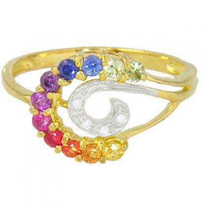 Rainbow Sapphire & Diamond Swirl Ring 14K Yellow Gold (0.62ct tw) SKU: 1437-14K-YG