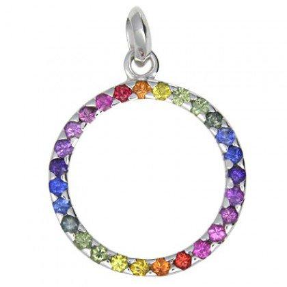 Rainbow Sapphire Eternity Pendant 14K White Gold (1.2ct tw) SKU: 335-14K-WG