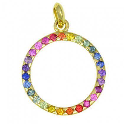 Rainbow Sapphire Eternity Pendant 14K Yellow Gold (1.2ct tw) SKU: 335-14K-YG