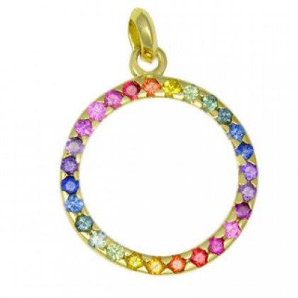 Rainbow Sapphire Circle of Life Pendant 18K Yellow Gold (1.2ct tw) SKU: 335-18K-YG