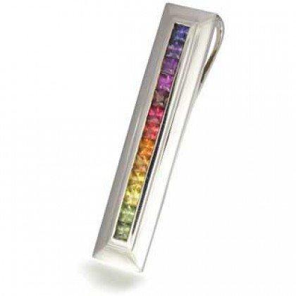 Rainbow Sapphire Line Pendant 18K White Gold (2ct tw) SKU: 664-18K-WG