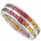 Rainbow Sapphire Double Row Eternity Ring 18K White Gold (6ct tw)SKU: 391-18K-WG