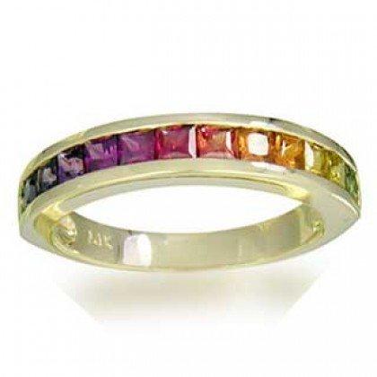 Rainbow Sapphire Half Eternity Band Ring 14K Yellow Gold (2ct tw) SKU: 663-14K-YG