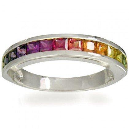 Rainbow Sapphire Half Eternity Band Ring 14K White Gold (2ct tw) SKU: 663-14K-WG
