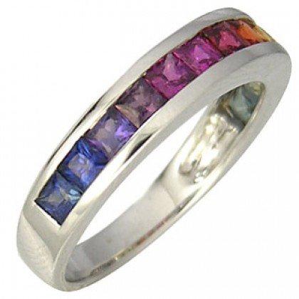 Rainbow Sapphire Half Eternity Band Ring 18K White Gold (2ct tw) SKU: 663-18K-WG