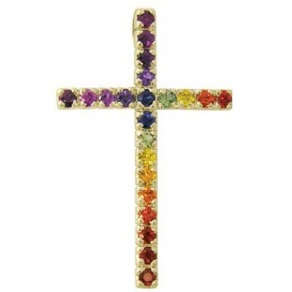 Rainbow Sapphire Religious Crucifix Pendant 14K Yellow Gold (3ct tw) SKU: 1525-14K-YG
