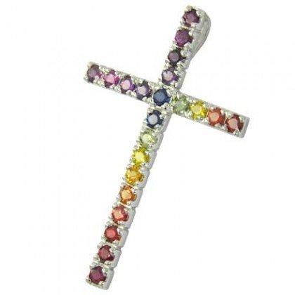 Rainbow Sapphire Religious Crucifix Pendant 18K White Gold (3ct tw) SKU: 1525-18K-WG