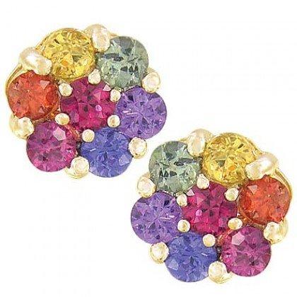 Rainbow Sapphire Earrings Flower Cluster 14K Yellow Gold (2ct tw) SKU: 1617-14K-YG