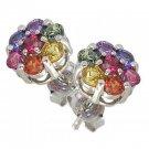 Rainbow Sapphire Earrings Flower Cluster 18K White Gold (2ct tw) SKU: 1617-18K-WG
