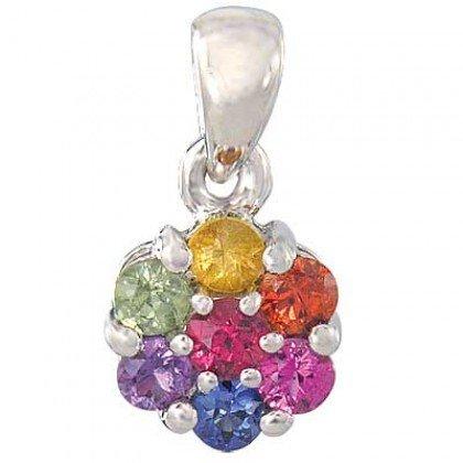 Rainbow Sapphire Flower Cluster Pendant 14K White Gold (1ct tw) SKU: 1616-14K-WG