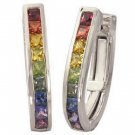 Rainbow Sapphire Earrings J Hoop Huggie 18K White Gold (2ct tw) SKU: 1557-18K-WG