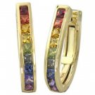 Rainbow Sapphire Earrings J Hoop Huggie 18K Yellow Gold (2ct tw) SKU: 1557-18K-YG