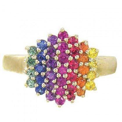 Rainbow Sapphire Engagement Wedding Ring 14K Yellow Gold (1.4ct tw) SKU: 1584-14K-YG