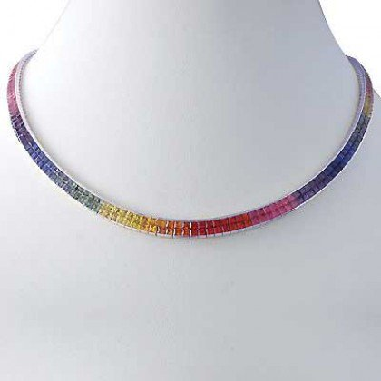 Rainbow Sapphire Invisible Set Double Row Tennis Necklace 14K WG (43ct tw) SKU: 415-14K-WG