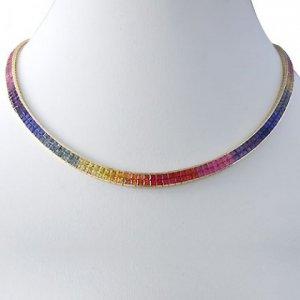 Rainbow Sapphire Invisible Set Double Row Tennis Necklace 14K YG (43ct tw) SKU: 415-14K-YG