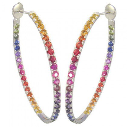 Rainbow Sapphire Earrings Hoop Huggie 925 Sterling Silver (7ct tw) SKU: 1492-925