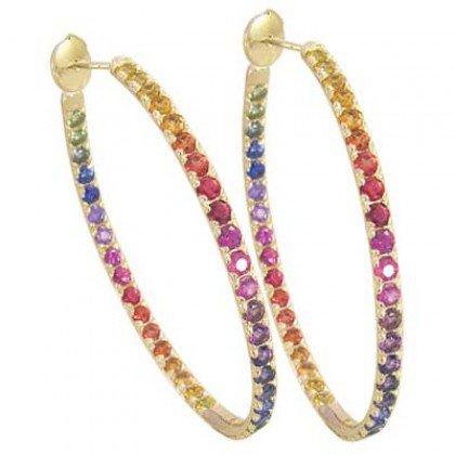 Rainbow Sapphire Earrings Hoop Huggie 14K Yellow Gold (7ct tw) SKU: 1492-14K-YG