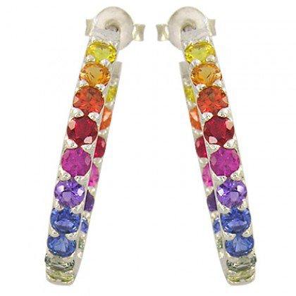 Rainbow Sapphire Earrings Inside Outside 1 Inch Hoop Huggie Silver (4ct tw) SKU: 1518-925