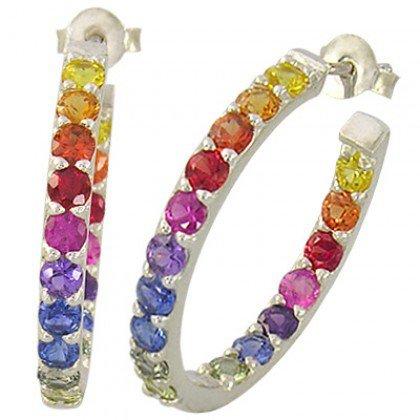 Rainbow Sapphire Earrings Inside Outside 1 Inch Hoop Huggie 14K WG (4ct tw) SKU: 1518-14K-WG