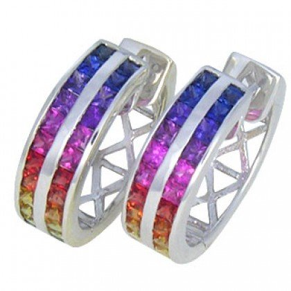 Rainbow Sapphire Earrings Double Row Huggie 14K White Gold (5ct tw) SKU: 437-14K-WG