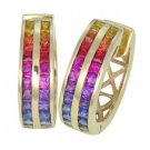 Rainbow Sapphire Earrings Double Row Huggie 18K Yellow Gold (5ct tw) SKU: 437-18K-YG