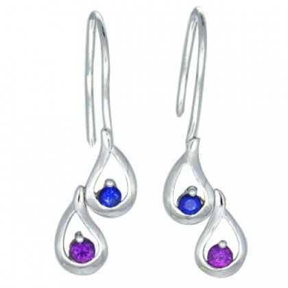 Rainbow Sapphire Journey Earrings 18K White Gold (1/2ct tw) SKU: 393-18K-WG