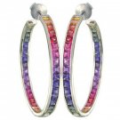 Rainbow Sapphire Earrings Channel Set Hoop Huggie 925 Sterling Silver (8.8ct tw) SKU: 1545-925