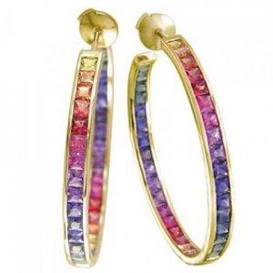 Rainbow Sapphire Earrings Channel Set Hoop Huggie 14K Yellow Gold (8.8ct tw) SKU: 1545-14K-YG