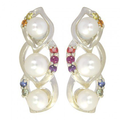 Rainbow Sapphire & Pearl Antique Style Earring 925 Sterling Silver (1/2ct tw) SKU: 1453-925